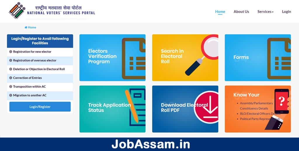 National Voter's Service Portal Home Page