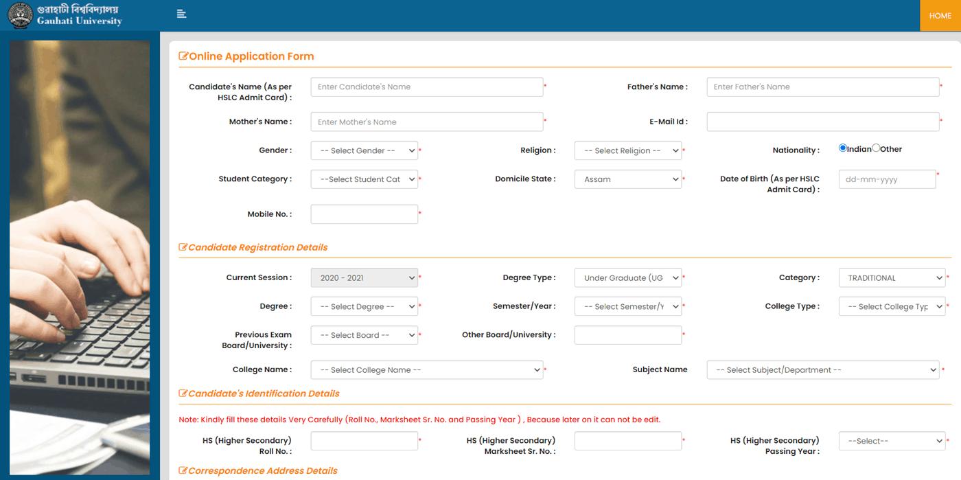 Gauhati University Registration Portal